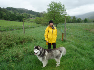 Sandra with Nanuk on the dog field